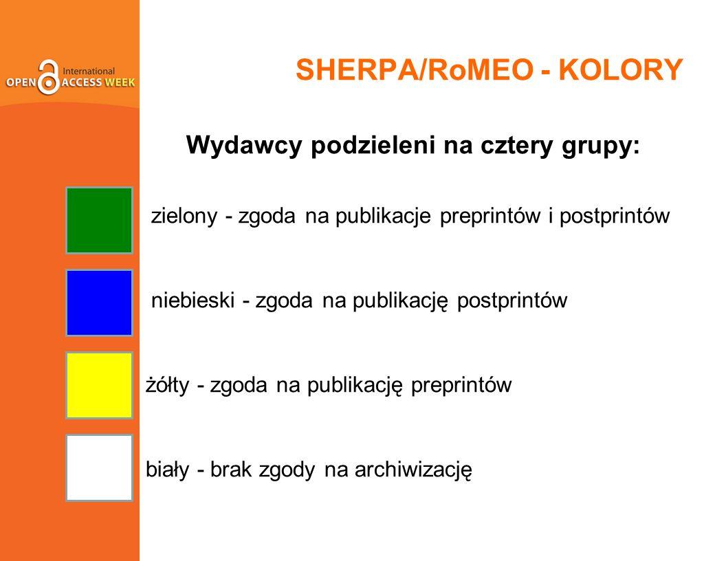 SHERPA/RoMEO - KOLORY Wydawcy podzieleni na cztery grupy: zielony - zgoda na publikacje preprintów i postprintów niebieski - zgoda na publikację postprintów żółty - zgoda na publikację preprintów biały - brak zgody na archiwizację
