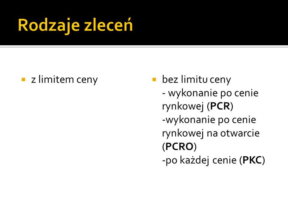 z limitem ceny bez limitu ceny - wykonanie po cenie rynkowej (PCR) -wykonanie po cenie rynkowej na otwarcie (PCRO) -po każdej cenie (PKC)