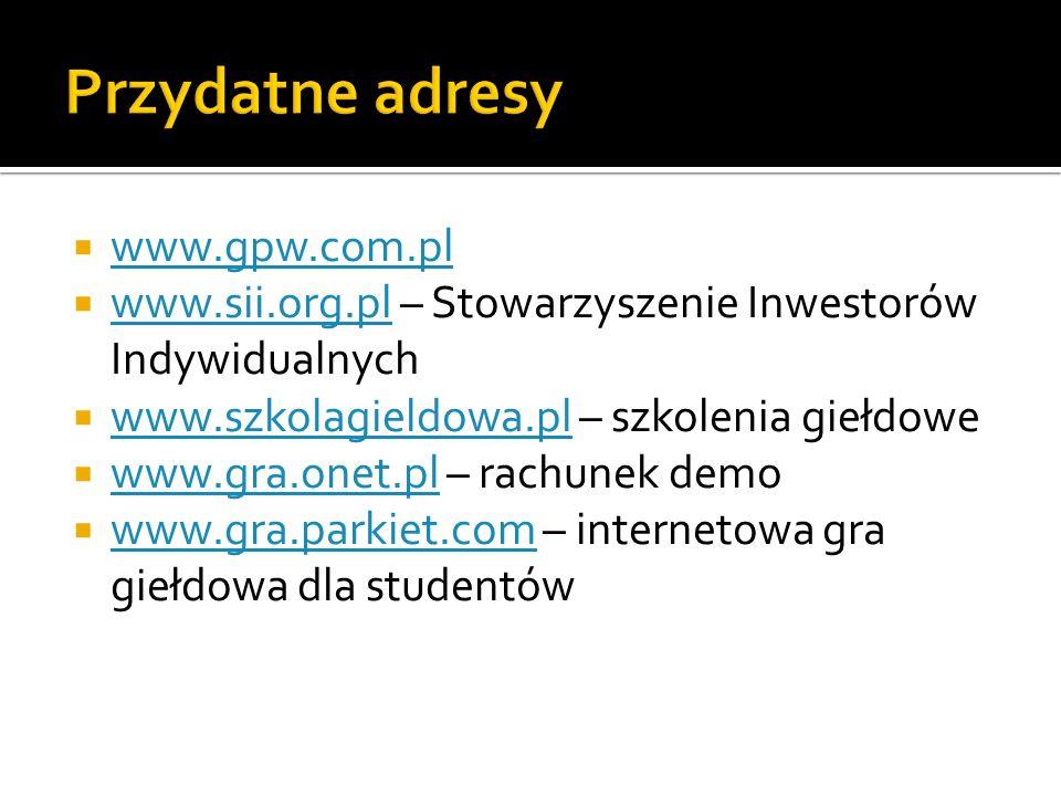 www.gpw.com.pl www.sii.org.pl – Stowarzyszenie Inwestorów Indywidualnych www.sii.org.pl www.szkolagieldowa.pl – szkolenia giełdowe www.szkolagieldowa.