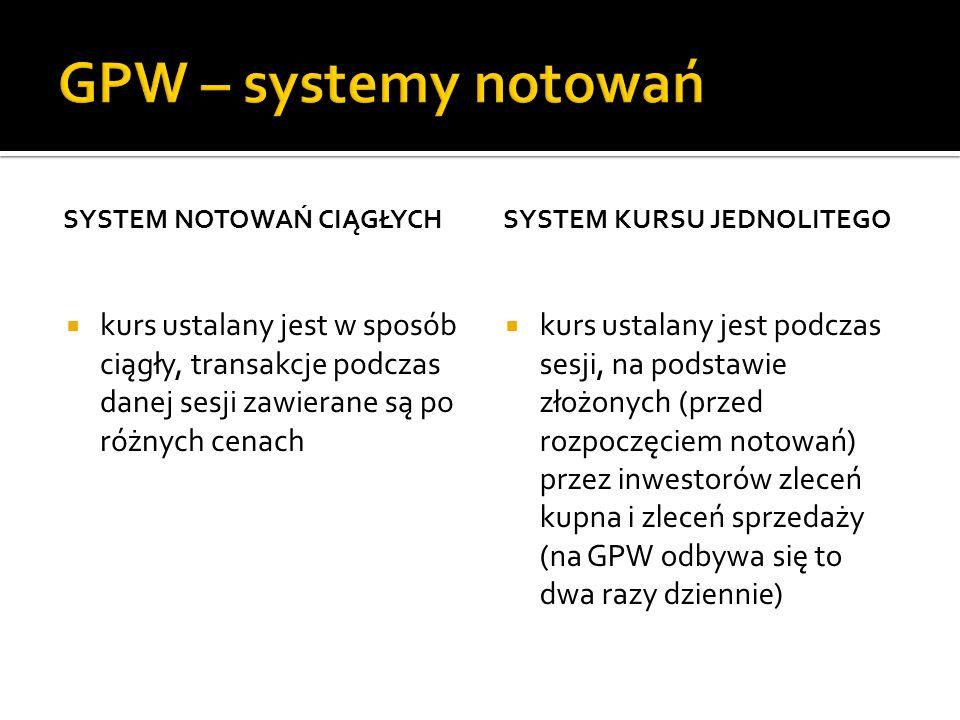 SYSTEM NOTOWAŃ CIĄGŁYCH kurs ustalany jest w sposób ciągły, transakcje podczas danej sesji zawierane są po różnych cenach SYSTEM KURSU JEDNOLITEGO kur