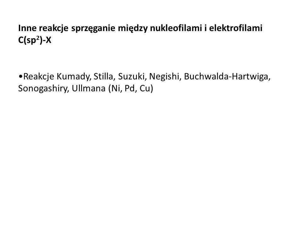 Inne reakcje sprzęganie między nukleofilami i elektrofilami C(sp 2 )-X Reakcje Kumady, Stilla, Suzuki, Negishi, Buchwalda-Hartwiga, Sonogashiry, Ullma
