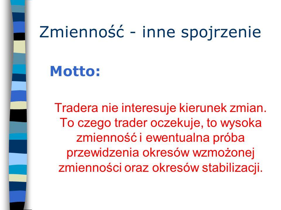 Zmienność - inne spojrzenie Motto: Tradera nie interesuje kierunek zmian. To czego trader oczekuje, to wysoka zmienność i ewentualna próba przewidzeni