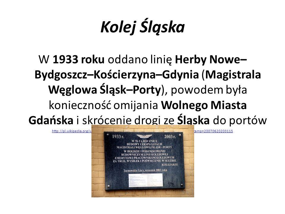 Kolej Śląska W 1933 roku oddano linię Herby Nowe– Bydgoszcz–Kościerzyna–Gdynia (Magistrala Węglowa Śląsk–Porty), powodem była konieczność omijania Wol