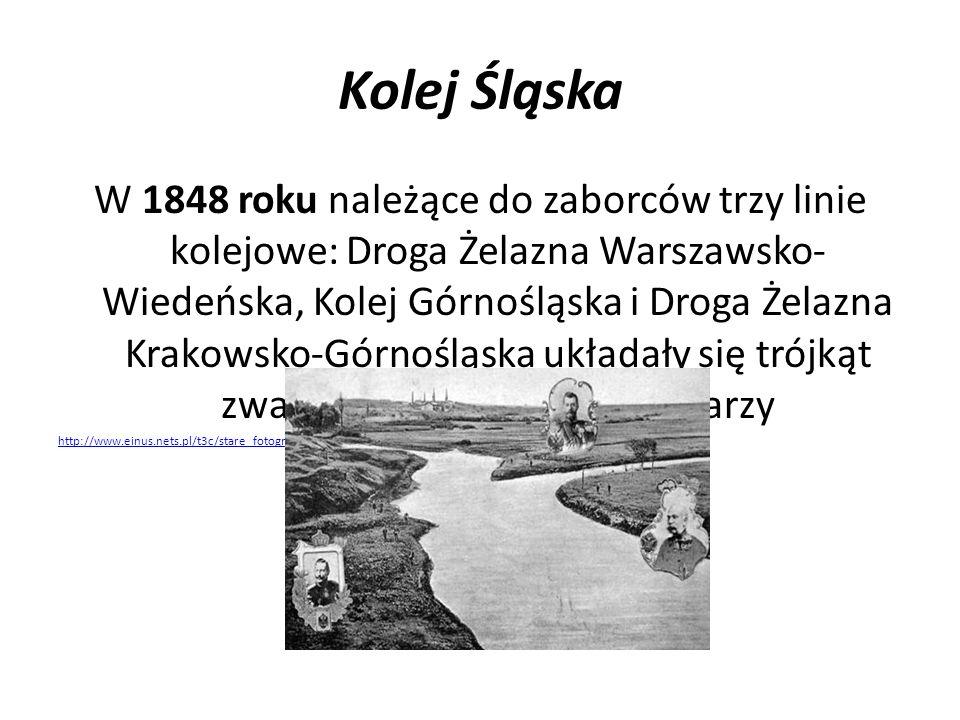 Kolej Śląska W 1848 roku należące do zaborców trzy linie kolejowe: Droga Żelazna Warszawsko- Wiedeńska, Kolej Górnośląska i Droga Żelazna Krakowsko-Gó