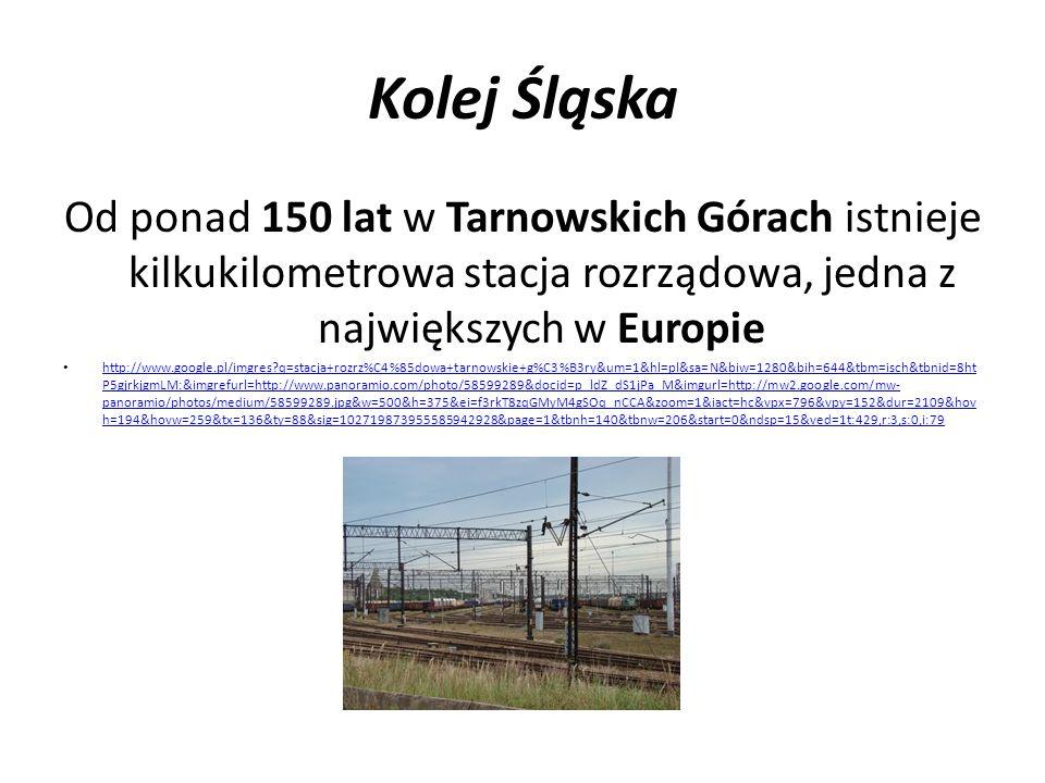 Kolej Śląska W 1854 roku otworzono pierwszą publiczną kolej wąskotorową Bytom Karb–Katowice Bogucice–Huta Wilhelmina o szerokości toru 785 mm http://www.google.pl/imgres?q=pierwsza+kolej+w%C4%85skotorowa+Bytom&um=1&hl=pl&biw=1280&bih=644&tbm=isch&tbnid=rXkx_OQZiWnw 9M:&imgrefurl=http://www.mmsilesia.pl/250133/2010/8/21/kolej-waskotorowa-sie-remontuje-i-ciagle-rozwija- zdjecia%3Fcategory%3Dnews&docid=jtiMvq7DjEAh5M&imgurl=http://gfx.mmka.pl/newsph/250133/164207.3.jpg&w=600&h=400&ei=hGDkT9u1L MrktQbxv7TpCA&zoom=1&iact=hc&vpx=353&vpy=350&dur=3564&hovh=183&hovw=275&tx=146&ty=88&sig=102719873955585942928&page=4 &tbnh=138&tbnw=172&start=60&ndsp=24&ved=1t:429,r:19,s:60,i:323 http://www.google.pl/imgres?q=pierwsza+kolej+w%C4%85skotorowa+Bytom&um=1&hl=pl&biw=1280&bih=644&tbm=isch&tbnid=rXkx_OQZiWnw 9M:&imgrefurl=http://www.mmsilesia.pl/250133/2010/8/21/kolej-waskotorowa-sie-remontuje-i-ciagle-rozwija- zdjecia%3Fcategory%3Dnews&docid=jtiMvq7DjEAh5M&imgurl=http://gfx.mmka.pl/newsph/250133/164207.3.jpg&w=600&h=400&ei=hGDkT9u1L MrktQbxv7TpCA&zoom=1&iact=hc&vpx=353&vpy=350&dur=3564&hovh=183&hovw=275&tx=146&ty=88&sig=102719873955585942928&page=4 &tbnh=138&tbnw=172&start=60&ndsp=24&ved=1t:429,r:19,s:60,i:323