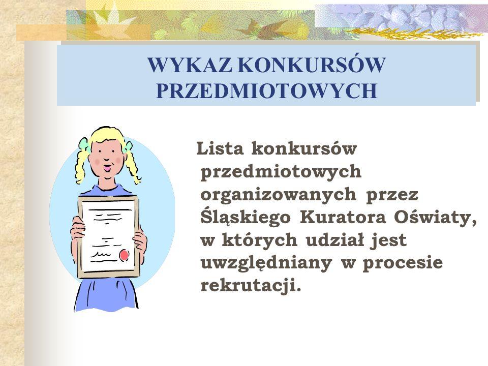 WYKAZ KONKURSÓW PRZEDMIOTOWYCH Lista konkursów przedmiotowych organizowanych przez Śląskiego Kuratora Oświaty, w których udział jest uwzględniany w pr