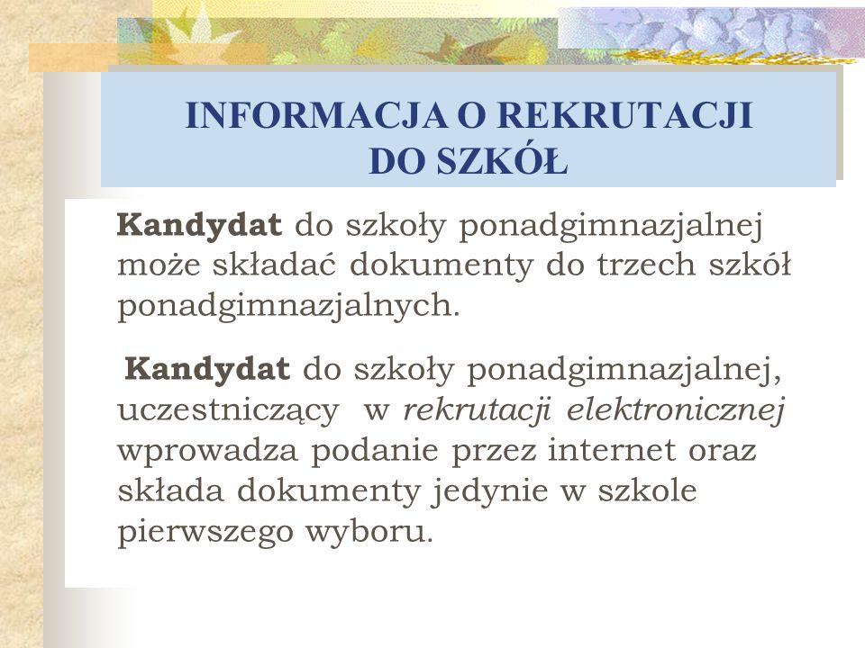 TERMINY Termin składania dokumentów do klas pierwszych szkół ponadgimnazjalnych : od 13 maja 2013 r.