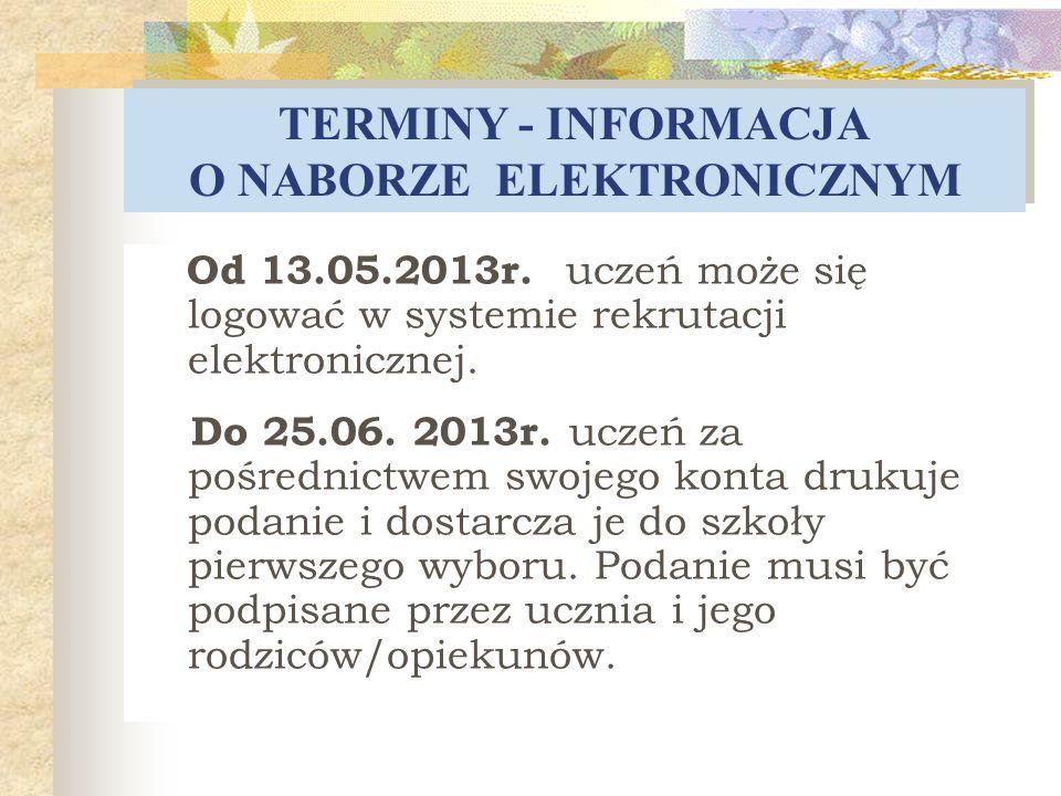 TERMINY - INFORMACJA O NABORZE ELEKTRONICZNYM Od 13.05.2013r. uczeń może się logować w systemie rekrutacji elektronicznej. Do 25.06. 2013r. uczeń za p