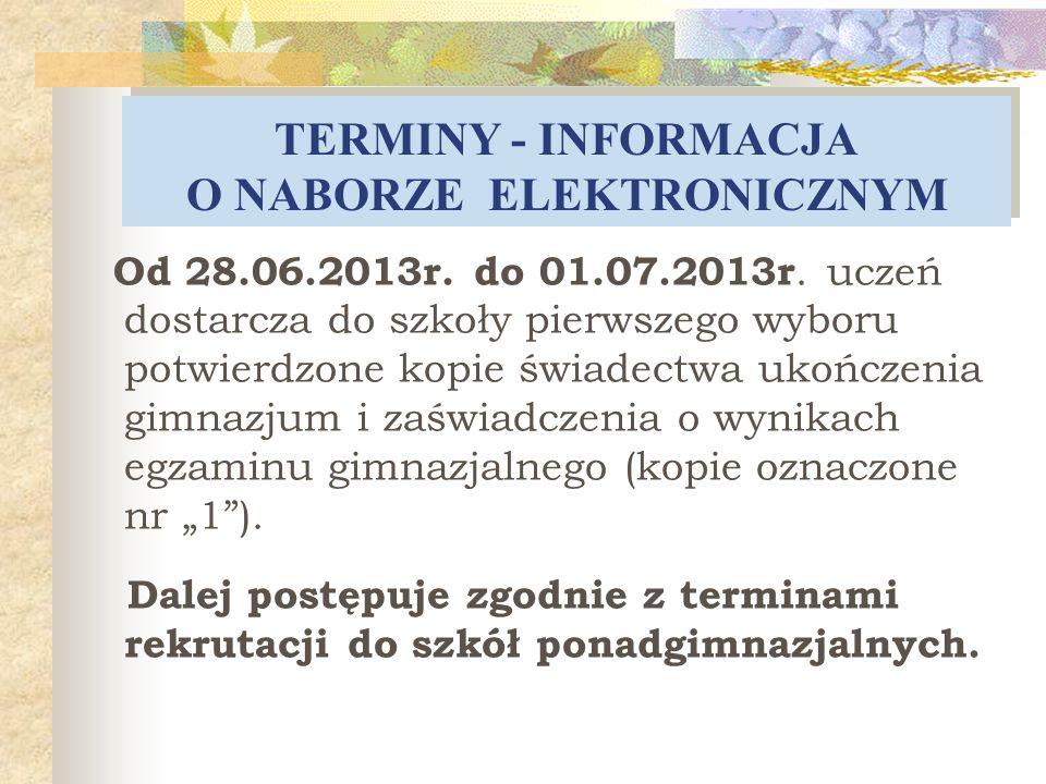 DOKUMENTACJA SKŁADANA W SZKOLE Termin składania dokumentów do klas pierwszych szkół ponadgimnazjalnych : od 13 maja 2013 r.