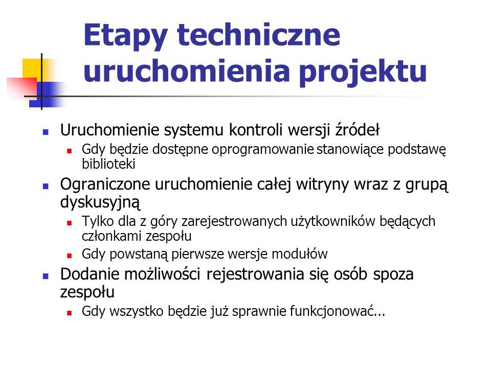 Etapy techniczne uruchomienia projektu Uruchomienie systemu kontroli wersji źródeł Gdy będzie dostępne oprogramowanie stanowiące podstawę biblioteki O