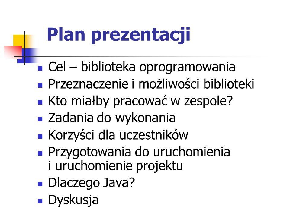 Plan prezentacji Cel – biblioteka oprogramowania Przeznaczenie i możliwości biblioteki Kto miałby pracować w zespole? Zadania do wykonania Korzyści dl