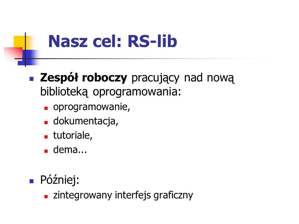 Nasz cel: RS-lib Zespół roboczy pracujący nad nową biblioteką oprogramowania: oprogramowanie, dokumentacja, tutoriale, dema...