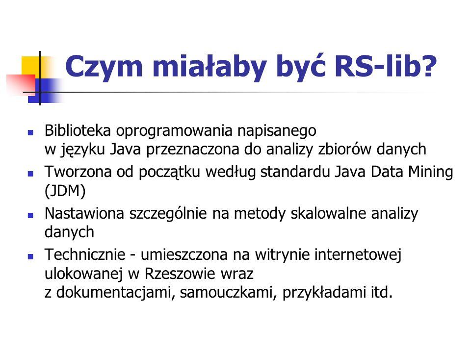 Czym miałaby być RS-lib? Biblioteka oprogramowania napisanego w języku Java przeznaczona do analizy zbiorów danych Tworzona od początku według standar