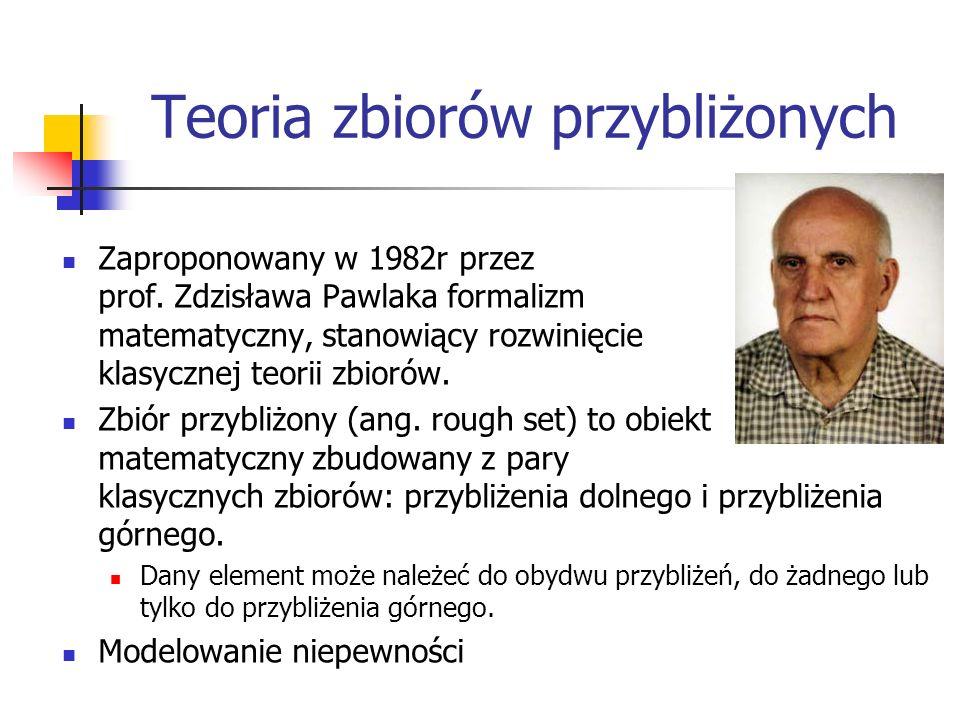 Teoria zbiorów przybliżonych Zaproponowany w 1982r przez prof. Zdzisława Pawlaka formalizm matematyczny, stanowiący rozwinięcie klasycznej teorii zbio
