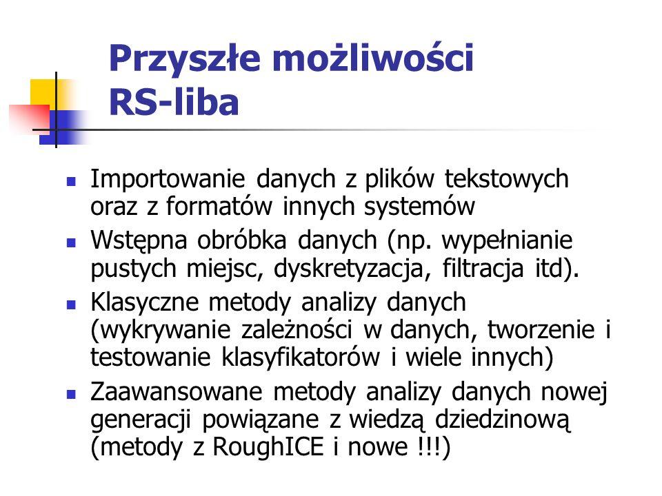 Przyszłe możliwości RS-liba Importowanie danych z plików tekstowych oraz z formatów innych systemów Wstępna obróbka danych (np. wypełnianie pustych mi