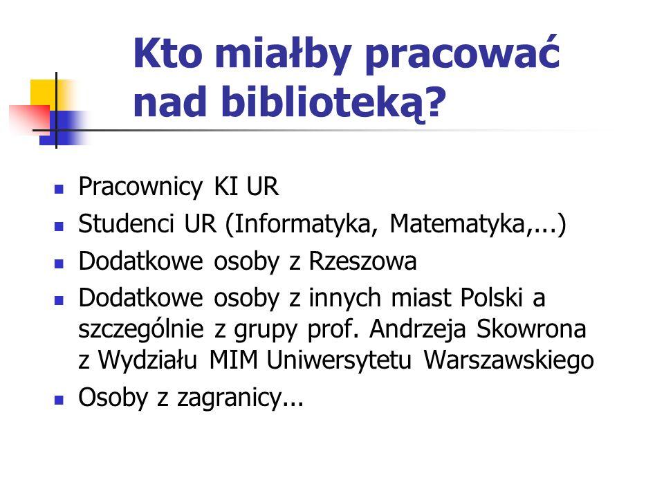 Kto miałby pracować nad biblioteką? Pracownicy KI UR Studenci UR (Informatyka, Matematyka,...) Dodatkowe osoby z Rzeszowa Dodatkowe osoby z innych mia