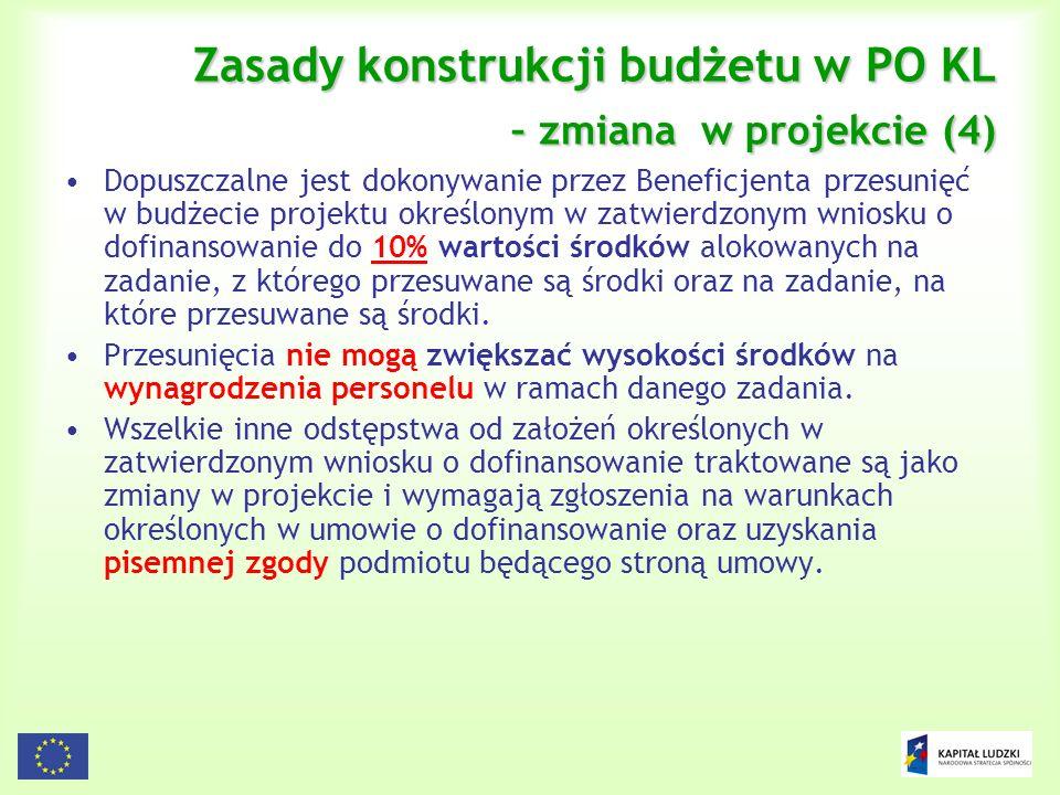 102 Zasady konstrukcji budżetu w PO KL – zmiana w projekcie (4) Dopuszczalne jest dokonywanie przez Beneficjenta przesunięć w budżecie projektu określ