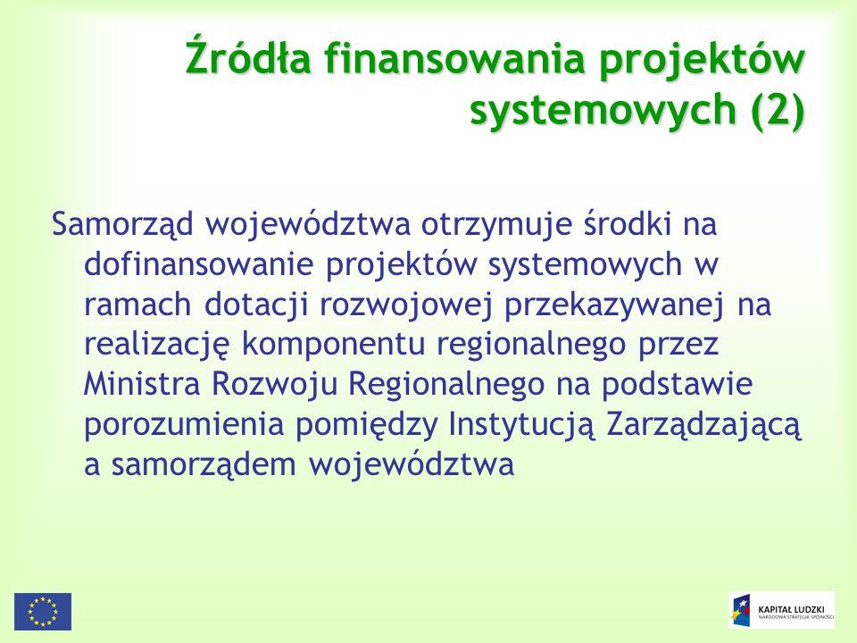 105 Źródła finansowania projektów systemowych (2) Samorząd województwa otrzymuje środki na dofinansowanie projektów systemowych w ramach dotacji rozwo