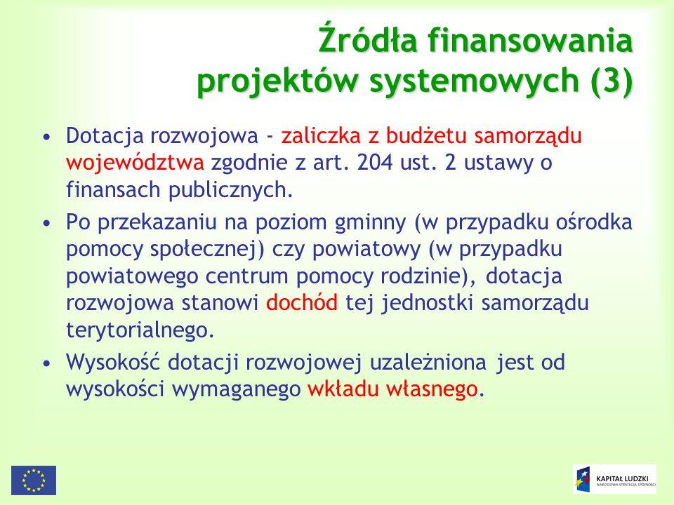 106 Źródła finansowania projektów systemowych (3) Dotacja rozwojowa - zaliczka z budżetu samorządu województwa zgodnie z art. 204 ust. 2 ustawy o fina