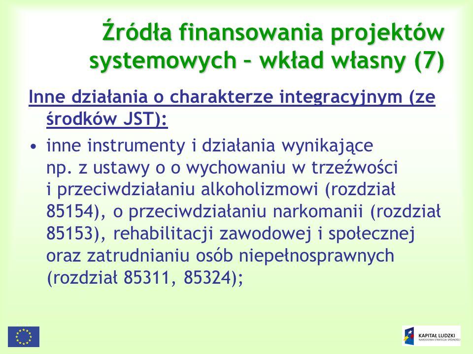110 Źródła finansowania projektów systemowych – wkład własny (7) Inne działania o charakterze integracyjnym (ze środków JST): inne instrumenty i dział