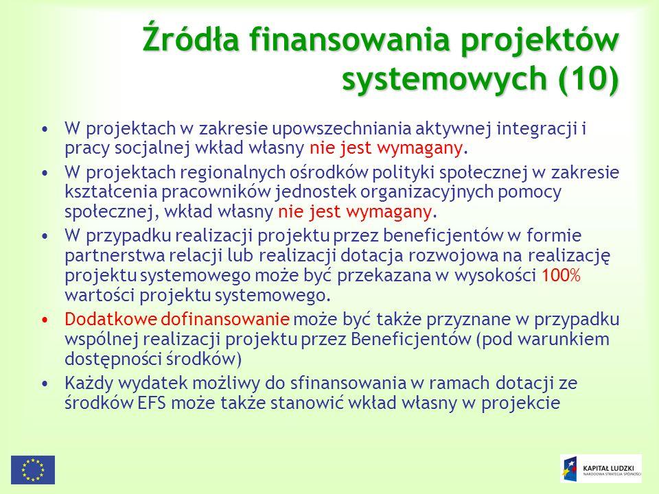113 Źródła finansowania projektów systemowych (10) W projektach w zakresie upowszechniania aktywnej integracji i pracy socjalnej wkład własny nie jest
