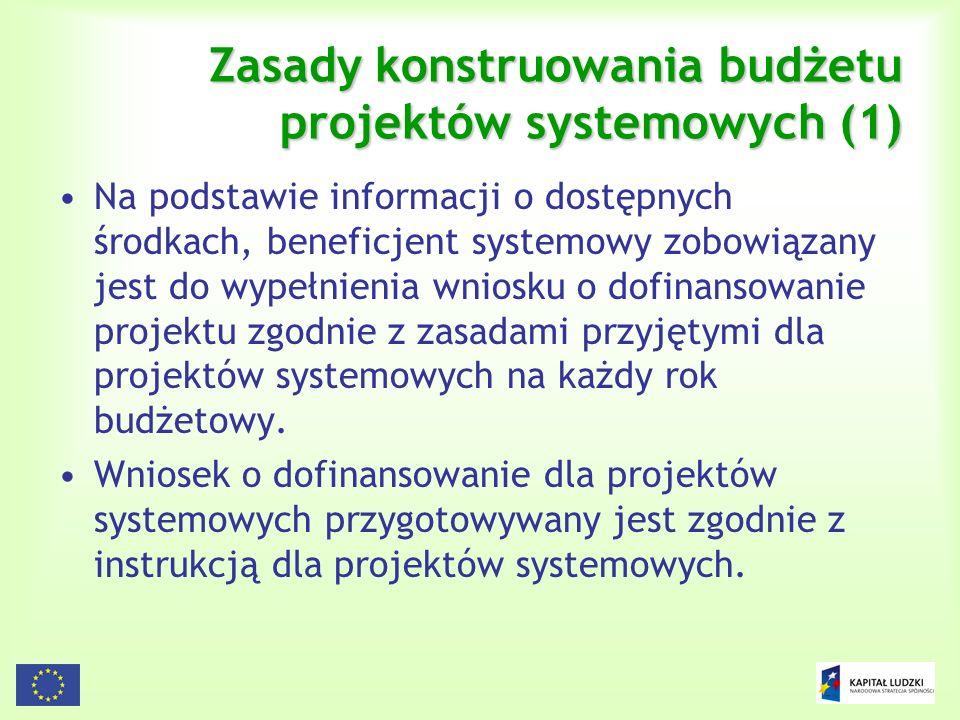 114 Zasady konstruowania budżetu projektów systemowych (1) Na podstawie informacji o dostępnych środkach, beneficjent systemowy zobowiązany jest do wy