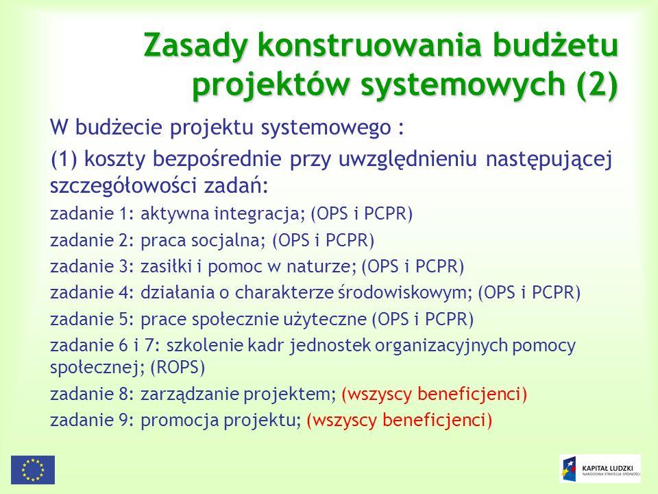 115 Zasady konstruowania budżetu projektów systemowych (2) W budżecie projektu systemowego : (1) koszty bezpośrednie przy uwzględnieniu następującej s