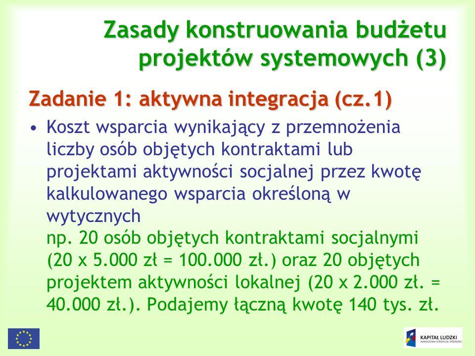 116 Zasady konstruowania budżetu projektów systemowych (3) Zadanie 1: aktywna integracja (cz.1) Koszt wsparcia wynikający z przemnożenia liczby osób o
