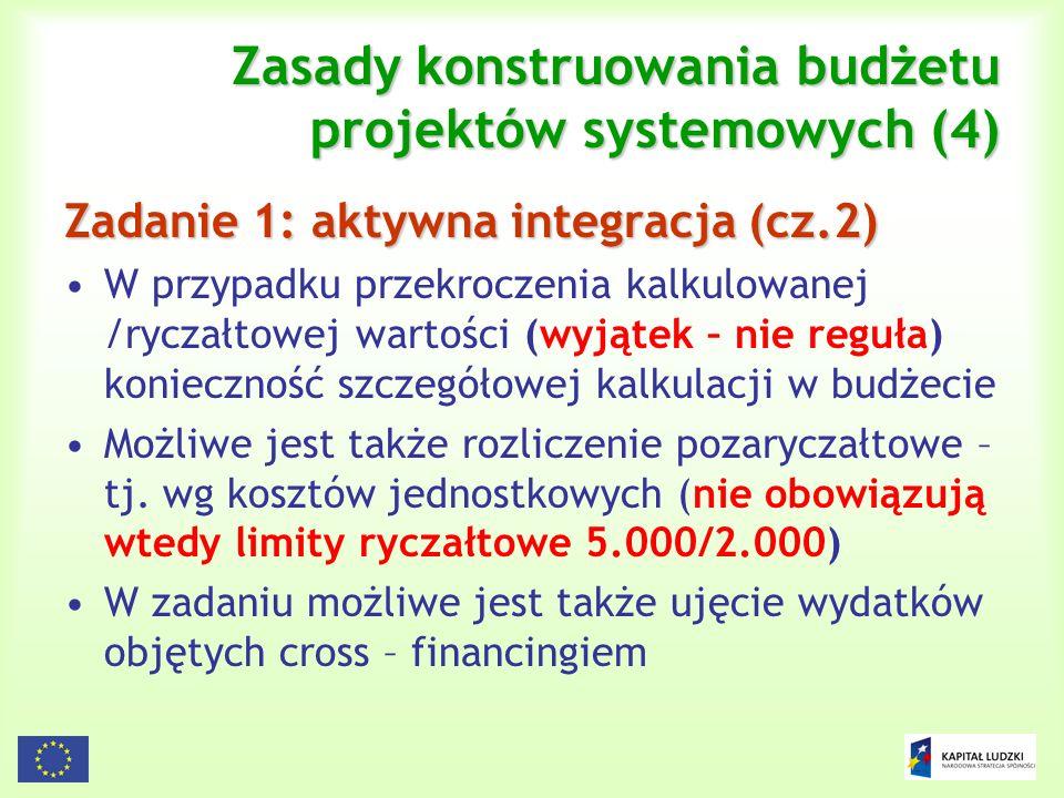 117 Zasady konstruowania budżetu projektów systemowych (4) Zadanie 1: aktywna integracja (cz.2) W przypadku przekroczenia kalkulowanej /ryczałtowej wa