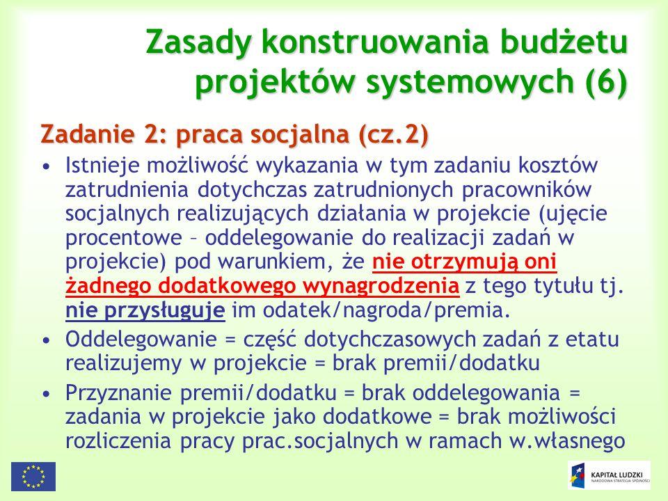 119 Zasady konstruowania budżetu projektów systemowych (6) Zadanie 2: praca socjalna (cz.2) Istnieje możliwość wykazania w tym zadaniu kosztów zatrudn