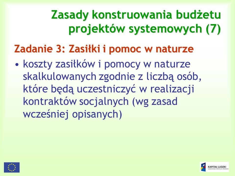120 Zasady konstruowania budżetu projektów systemowych (7) Zadanie 3: Zasiłki i pomoc w naturze koszty zasiłków i pomocy w naturze skalkulowanych zgod