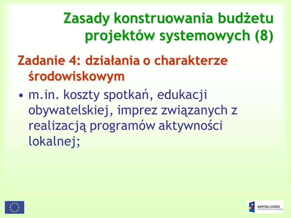 121 Zasady konstruowania budżetu projektów systemowych (8) Zadanie 4: działania o charakterze środowiskowym m.in. koszty spotkań, edukacji obywatelski