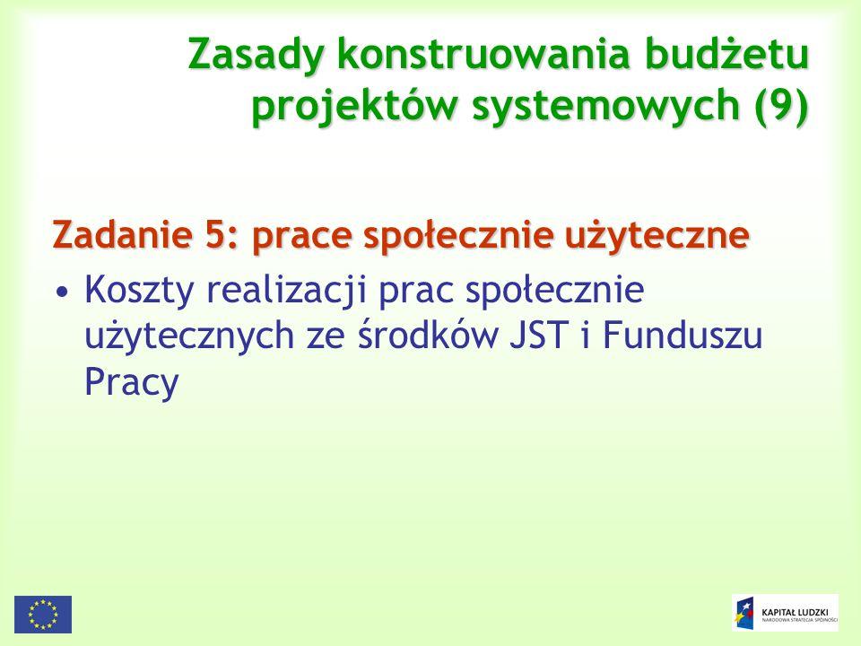 122 Zasady konstruowania budżetu projektów systemowych (9) Zadanie 5: prace społecznie użyteczne Koszty realizacji prac społecznie użytecznych ze środ