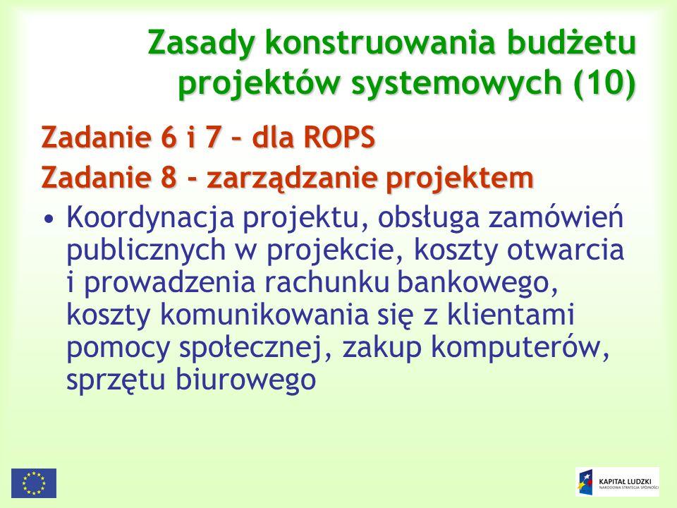 123 Zasady konstruowania budżetu projektów systemowych (10) Zadanie 6 i 7 – dla ROPS Zadanie 8 - zarządzanie projektem Koordynacja projektu, obsługa z