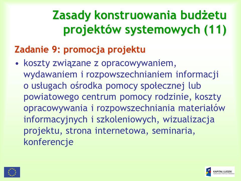 124 Zasady konstruowania budżetu projektów systemowych (11) Zadanie 9: promocja projektu koszty związane z opracowywaniem, wydawaniem i rozpowszechnia