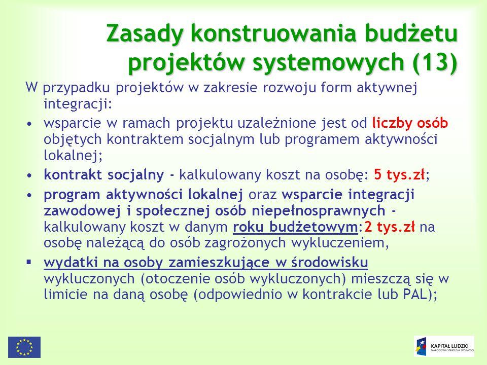 126 Zasady konstruowania budżetu projektów systemowych (13) W przypadku projektów w zakresie rozwoju form aktywnej integracji: wsparcie w ramach proje