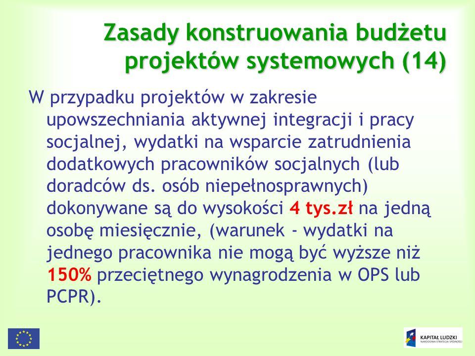 127 Zasady konstruowania budżetu projektów systemowych (14) W przypadku projektów w zakresie upowszechniania aktywnej integracji i pracy socjalnej, wy