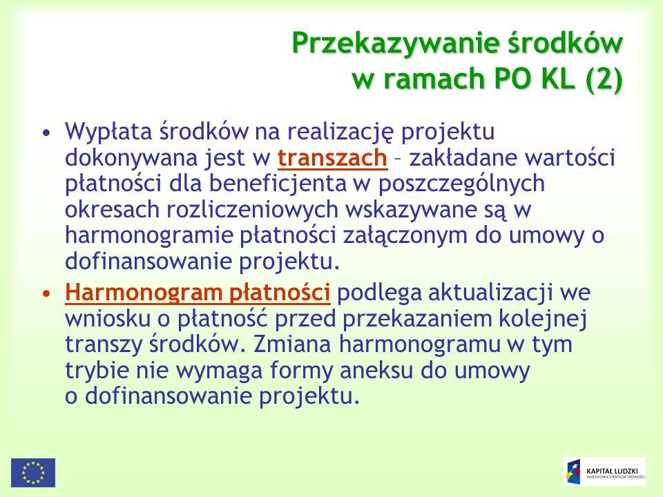 130 Przekazywanie środków w ramach PO KL (2) Wypłata środków na realizację projektu dokonywana jest w transzach – zakładane wartości płatności dla ben