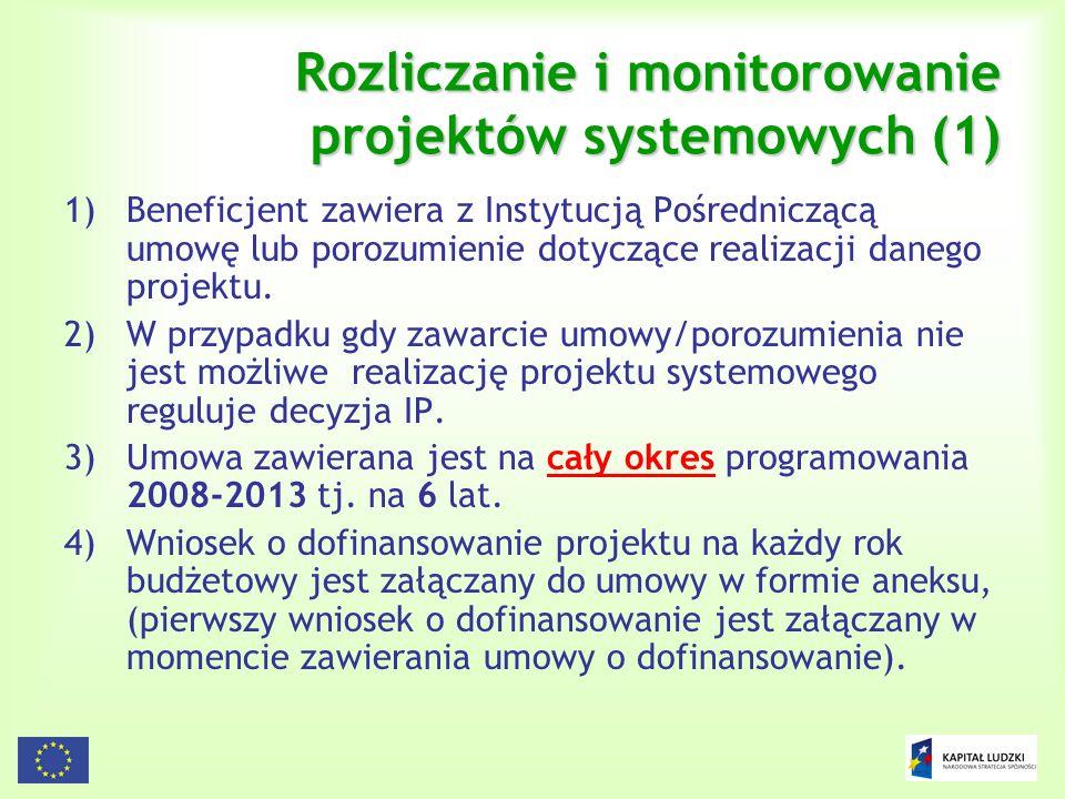 135 Rozliczanie i monitorowanie projektów systemowych (1) 1)Beneficjent zawiera z Instytucją Pośredniczącą umowę lub porozumienie dotyczące realizacji