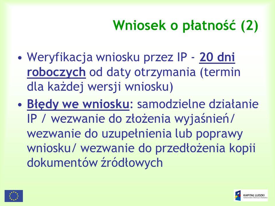 142 Wniosek o płatność (2) Weryfikacja wniosku przez IP - 20 dni roboczych od daty otrzymania (termin dla każdej wersji wniosku) Błędy we wniosku: sam