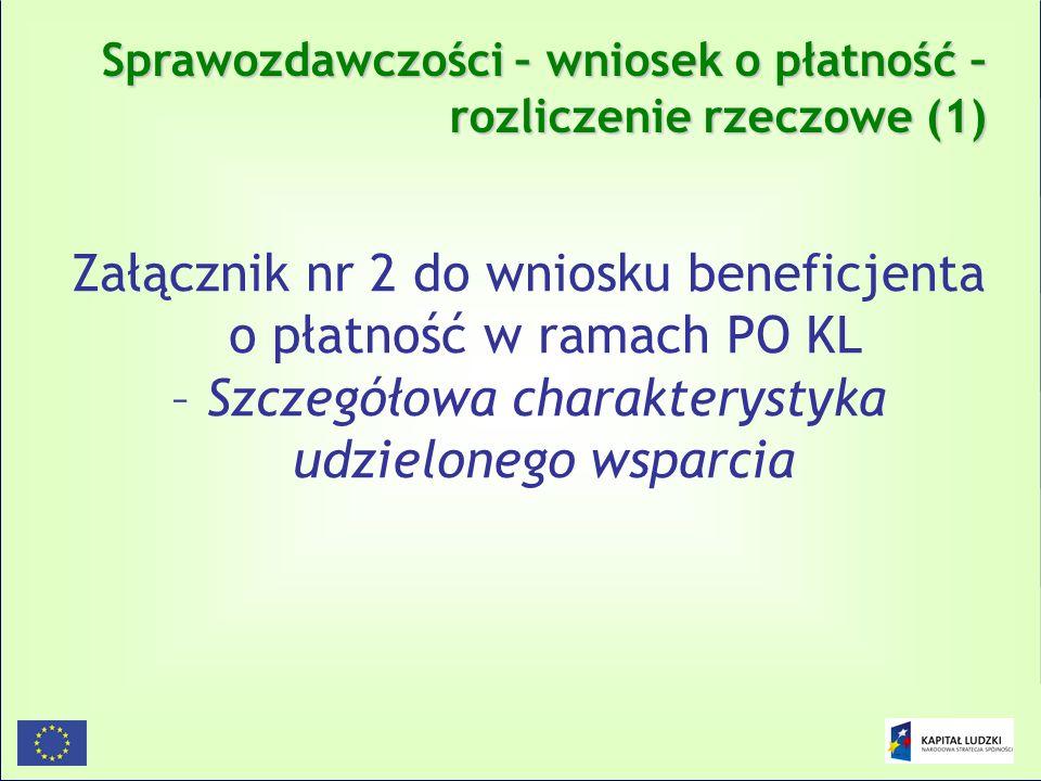 149 Sprawozdawczości – wniosek o płatność – rozliczenie rzeczowe (1) Załącznik nr 2 do wniosku beneficjenta o płatność w ramach PO KL – Szczegółowa ch