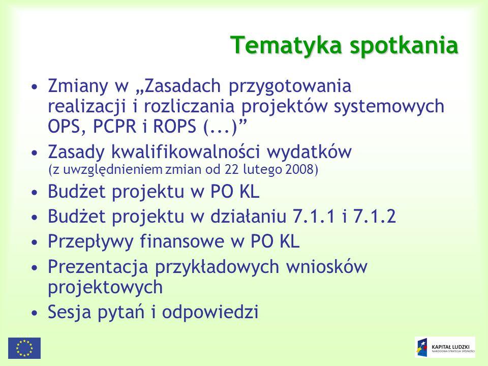 2 Tematyka spotkania Zmiany w Zasadach przygotowania realizacji i rozliczania projektów systemowych OPS, PCPR i ROPS (...) Zasady kwalifikowalności wy