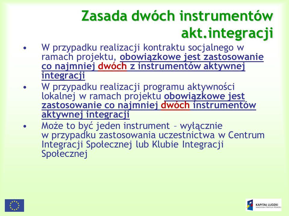 22 Zasada dwóch instrumentów akt.integracji W przypadku realizacji kontraktu socjalnego w ramach projektu, obowiązkowe jest zastosowanie co najmniej d
