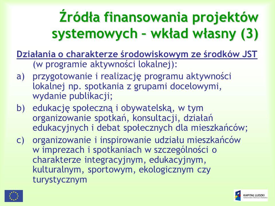 28 Źródła finansowania projektów systemowych – wkład własny (3) Działania o charakterze środowiskowym ze środków JST (w programie aktywności lokalnej)