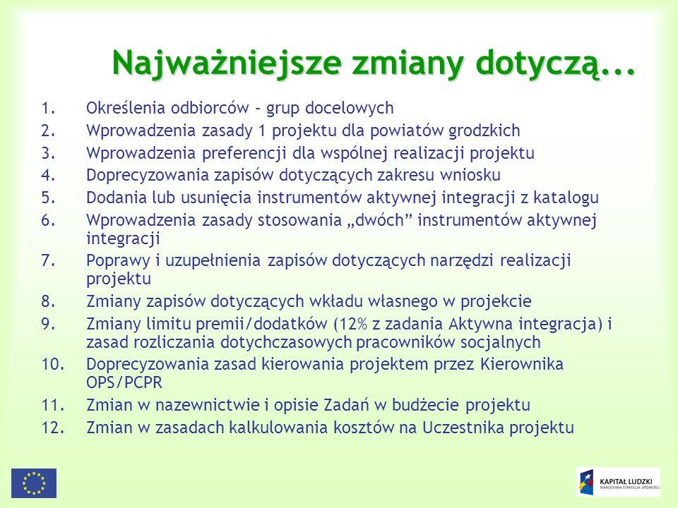 115 Zasady konstruowania budżetu projektów systemowych (2) W budżecie projektu systemowego : (1) koszty bezpośrednie przy uwzględnieniu następującej szczegółowości zadań: zadanie 1: aktywna integracja; (OPS i PCPR) zadanie 2: praca socjalna; (OPS i PCPR) zadanie 3: zasiłki i pomoc w naturze; (OPS i PCPR) zadanie 4: działania o charakterze środowiskowym; (OPS i PCPR) zadanie 5: prace społecznie użyteczne (OPS i PCPR) zadanie 6 i 7: szkolenie kadr jednostek organizacyjnych pomocy społecznej; (ROPS) zadanie 8: zarządzanie projektem; (wszyscy beneficjenci) zadanie 9: promocja projektu; (wszyscy beneficjenci)