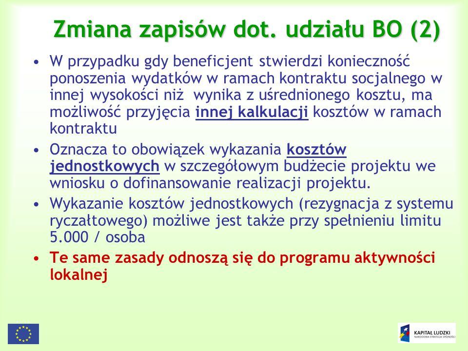 44 Zmiana zapisów dot. udziału BO (2) W przypadku gdy beneficjent stwierdzi konieczność ponoszenia wydatków w ramach kontraktu socjalnego w innej wyso