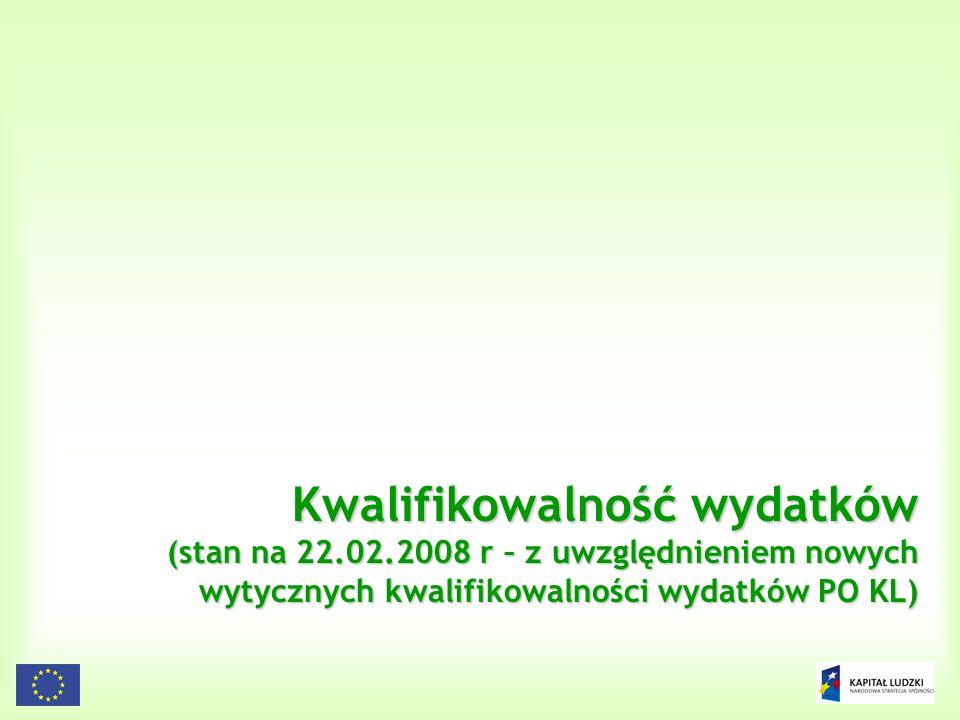 45 Kwalifikowalność wydatków (stan na 22.02.2008 r – z uwzględnieniem nowych wytycznych kwalifikowalności wydatków PO KL)