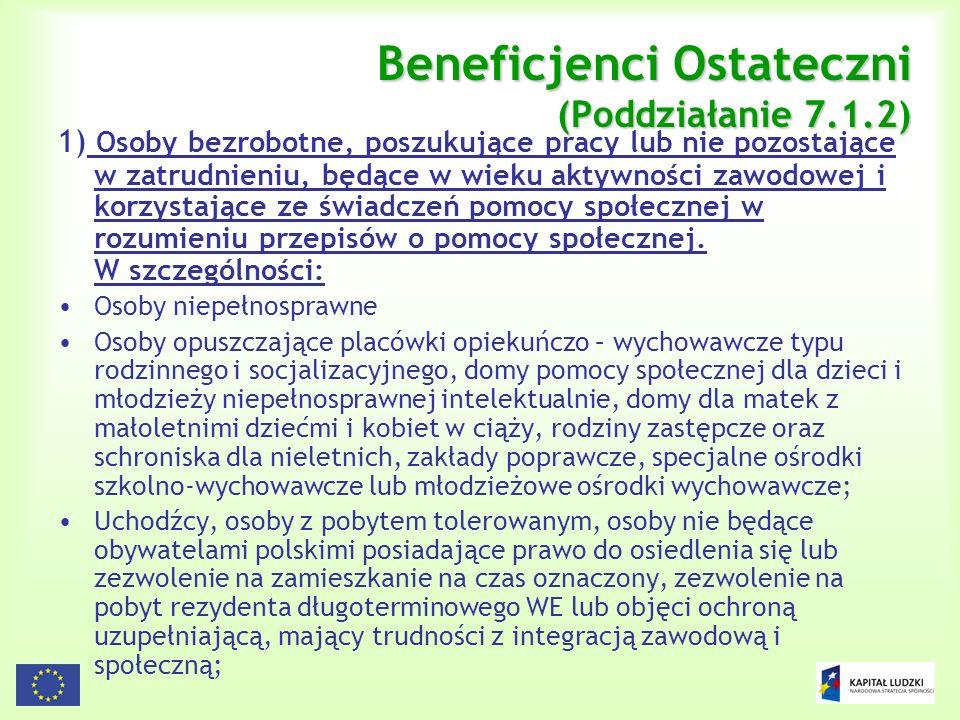 7 Beneficjenci Ostateczni (Poddziałanie 7.1.2) 1) Osoby bezrobotne, poszukujące pracy lub nie pozostające w zatrudnieniu, będące w wieku aktywności za