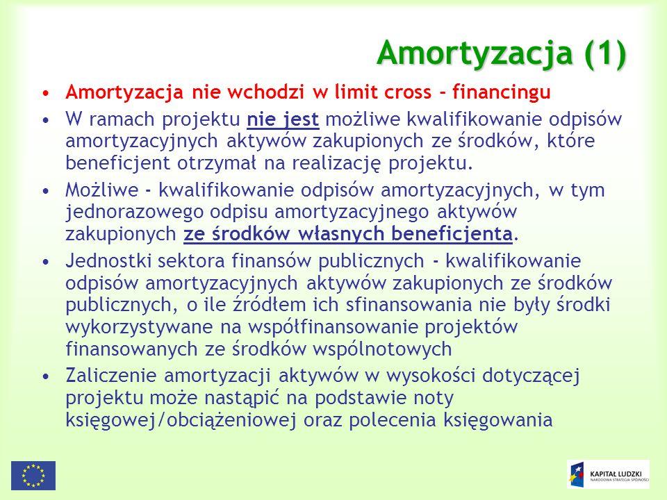 78 Amortyzacja (1) Amortyzacja nie wchodzi w limit cross - financingu W ramach projektu nie jest możliwe kwalifikowanie odpisów amortyzacyjnych aktywó