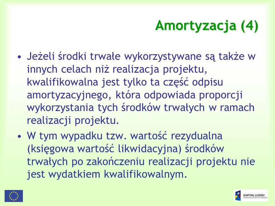 81 Amortyzacja (4) Jeżeli środki trwałe wykorzystywane są także w innych celach niż realizacja projektu, kwalifikowalna jest tylko ta część odpisu amo